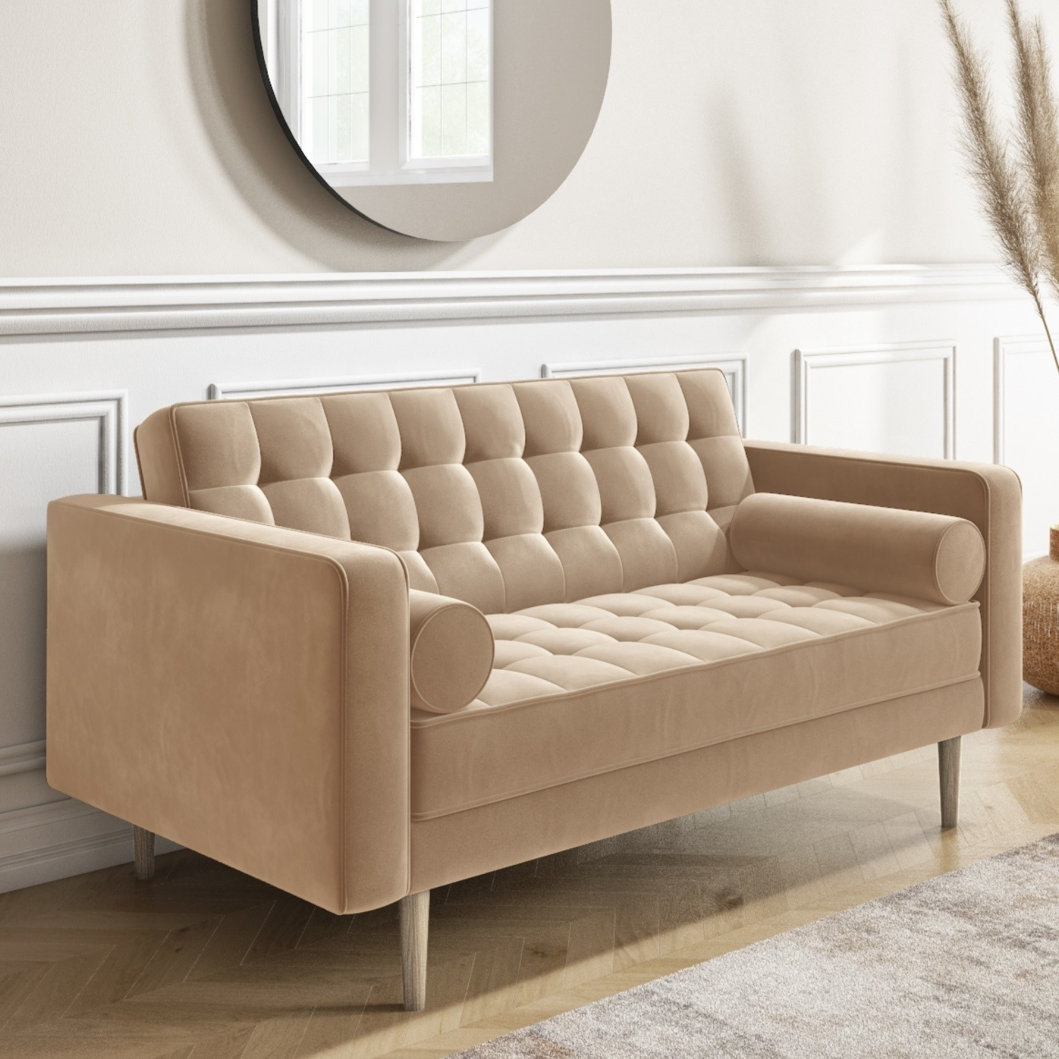 2 Seater Sofa In Beige Velvet With Buttoned Back Bolster Cushions Elba Furniture123