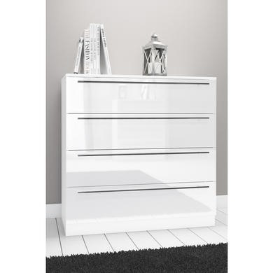 Space White High Gloss Wide Chest of Drawers
