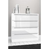 Space White High Gloss 4 Drawer Chest of Drawers