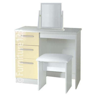 SPECIAL ORDER - Hatherley High Gloss Small Dressing Table Mirror and Stool in All White -