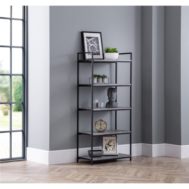 Staten Tall Bookcase with Black Metal Frame & Faux Concrete Shelves - Julian Bowen