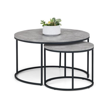 Staten Round Nest of 2 Coffee Tables in Faux Concrete & Black Metal - Julian Bowen