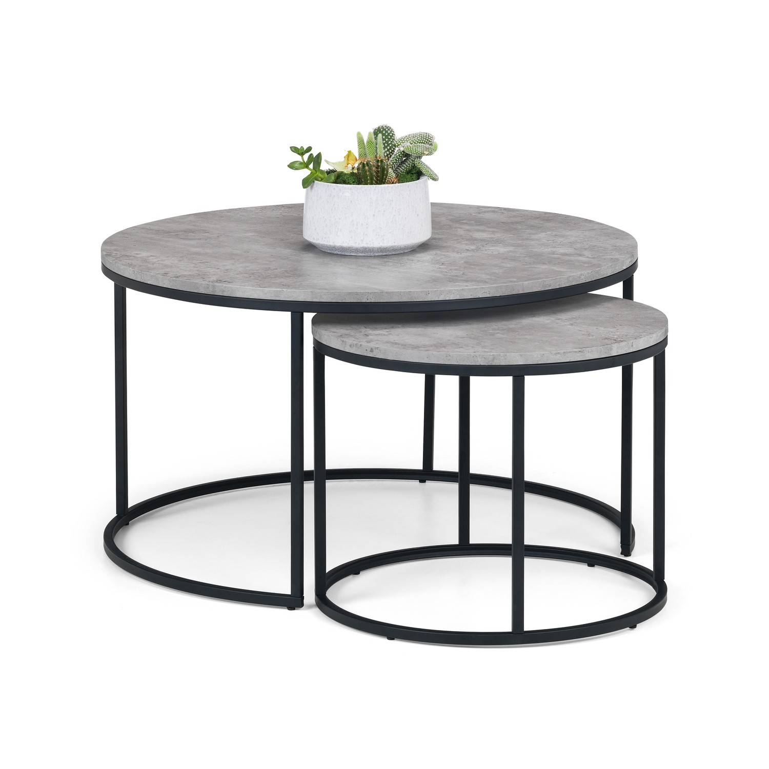 - Staten Round Nest Of 2 Coffee Tables In Faux Concrete & Black