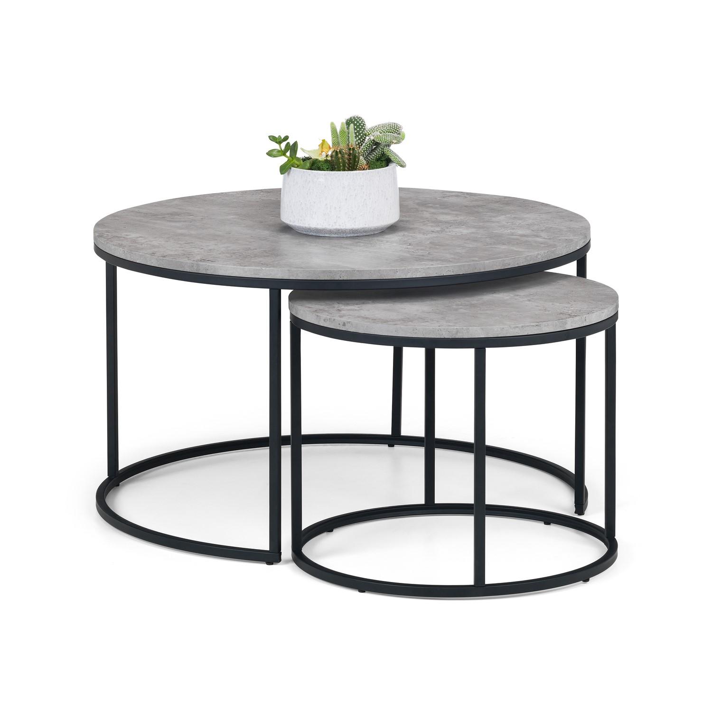 Staten Round Nest Of 2 Coffee Tables In Faux Concrete Black Metal Julian Bowen Furniture123