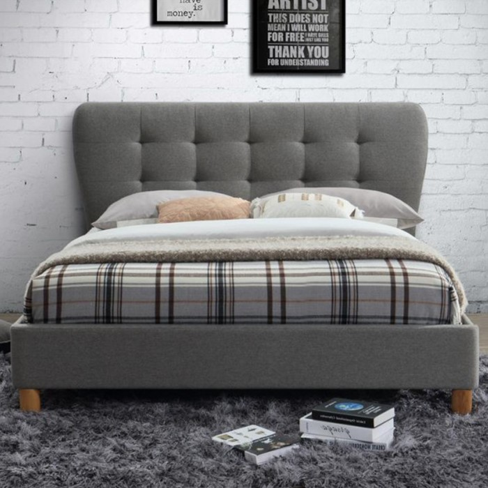 birlea stockholm upholstered grey small double bed. Black Bedroom Furniture Sets. Home Design Ideas