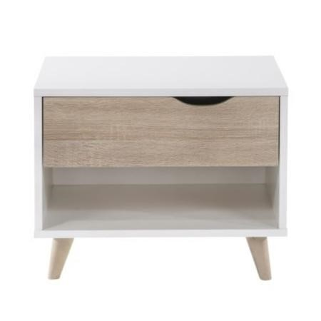 Lpd Stockholm 1 Drawer Retro Style Bedside Table
