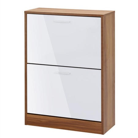 LPD Strand 2 Door Shoe Storage Cabinet in White High Gloss and Walnut