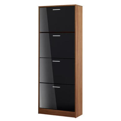 LPD Strand 4 Door Shoe Cabinet in Black High Gloss and Walnut