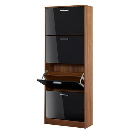 LPD Strand Black High Gloss and Walnut Shoe Storage Cabinet with 4 Shoe Compartments 24 Pairs