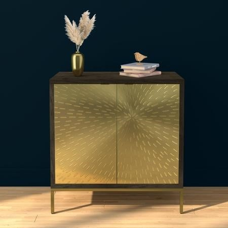Sunburst Small Sideboard in Gold & Walnut Wood