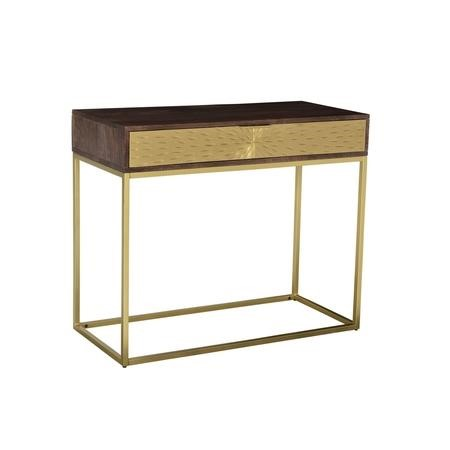 GRADE A1 - Dark Wood & Gold Console Table with Storage Drawer - Sunburst