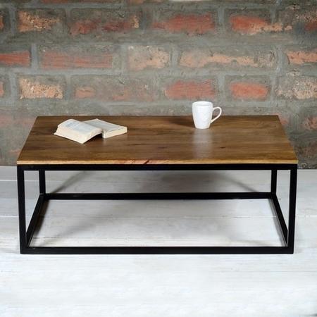 Suri Modern Industrial Rectangle Coffee Table In Mango