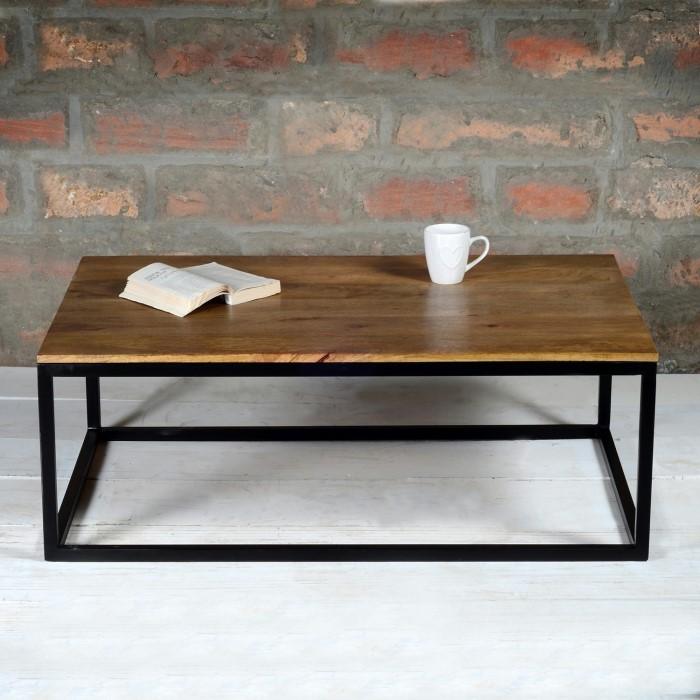 c18a026891df4 Suri Modern Industrial Rectangle Coffee Table in Mango Wood   Metal Detail  SUR001