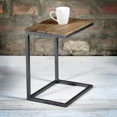 Suri Modern Industrial Small Side Table In Mango Wood Metal Detail