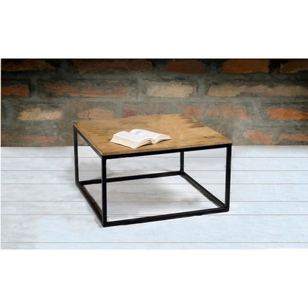 Suri Modern Industrial Modern Square Coffee Table In Mango Wood Metal Detail Furniture123