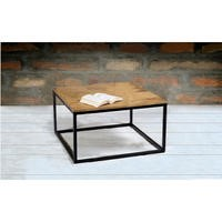 Suri Modern Industrial Modern Square Coffee Table in Mango Wood & Metal Detail