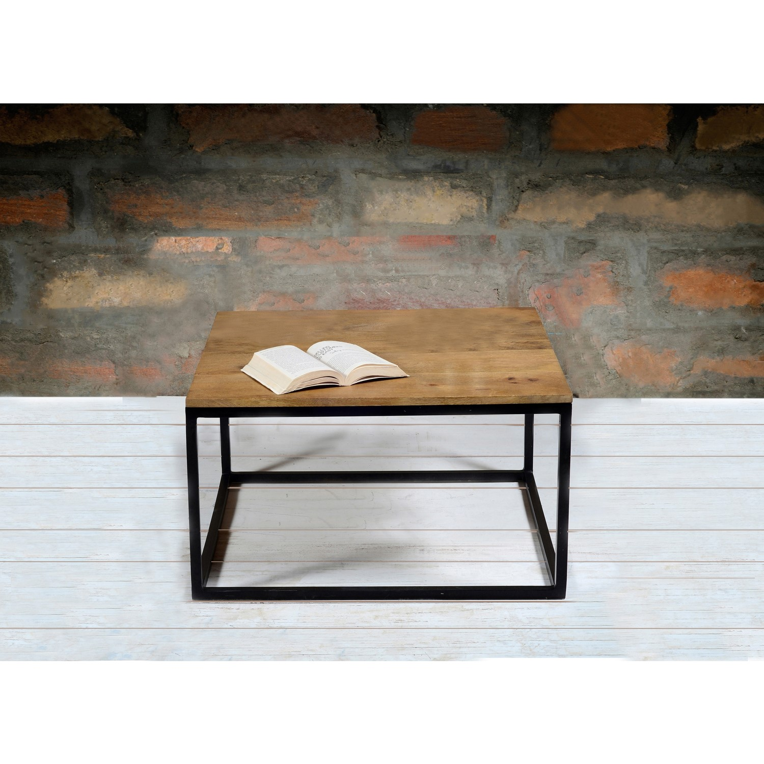 Suri Industrial Square Coffee Table In Mango Wood And Metal