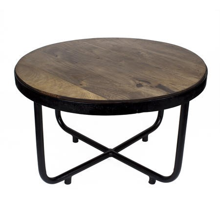 Suri modern industrial round coffee table in dark mango for Dark wood and metal coffee table