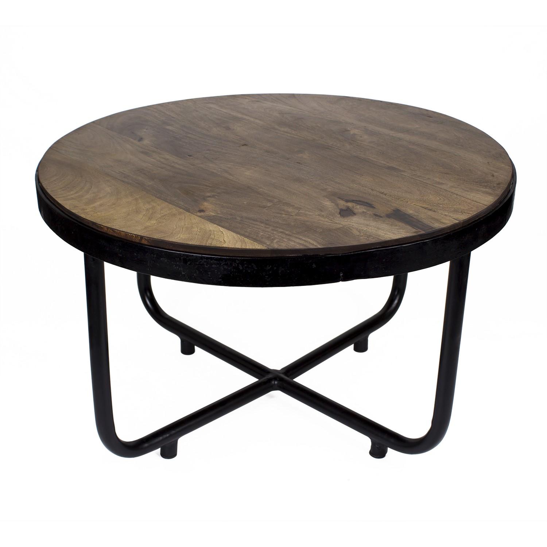 Suri Modern Industrial Round Coffee Table In Dark Mango Wood Metal Detail