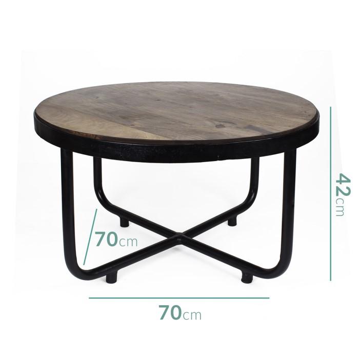 Industrial Round Coffee Table With Dark Wood Top And Steel: Suri Industrial Round Coffee Table In Dark