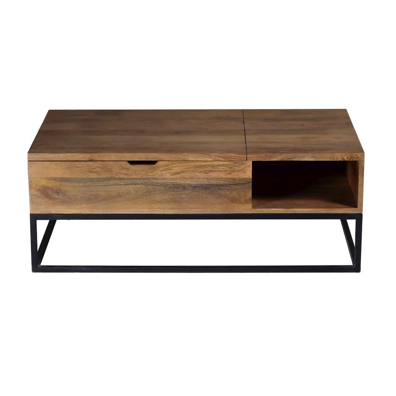 Suri Industrial Modern Coffee Table with Storage in Mango Wood
