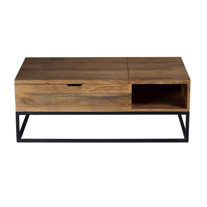 Suri Industrial Modern Coffee Table With Storage In Mango Wood