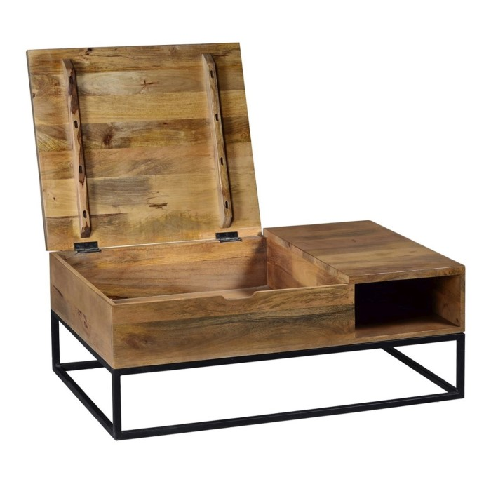 7401715e62888 Suri Industrial Modern Coffee Table with Storage in Mango Wood  amp  Metal  Detail