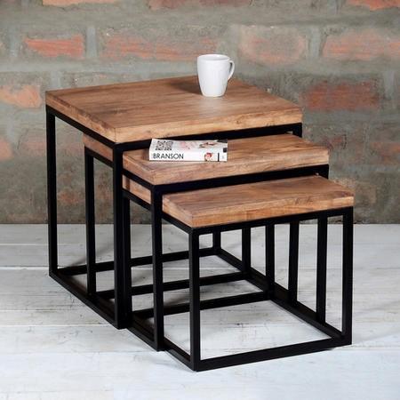 Suri Industrial Nest of Tables in Wood & Black Metal - Set of 3