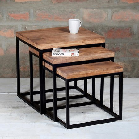 Suri Industrial Nest Of 3 Tables In Solid Wood And Metal