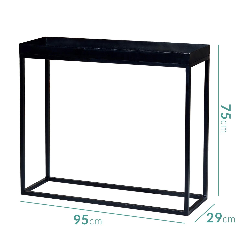 Suri Industrial Black Metal Console Table