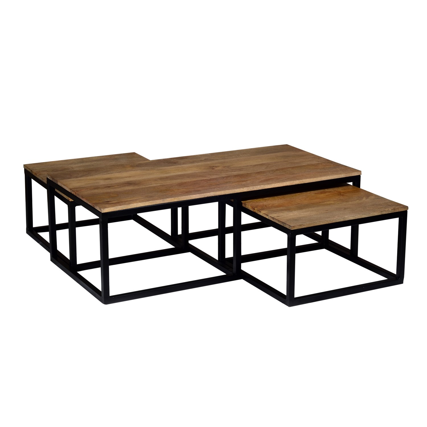 Suri Solid Wood Nest Of Coffee Tables With Black Base Set Of 3