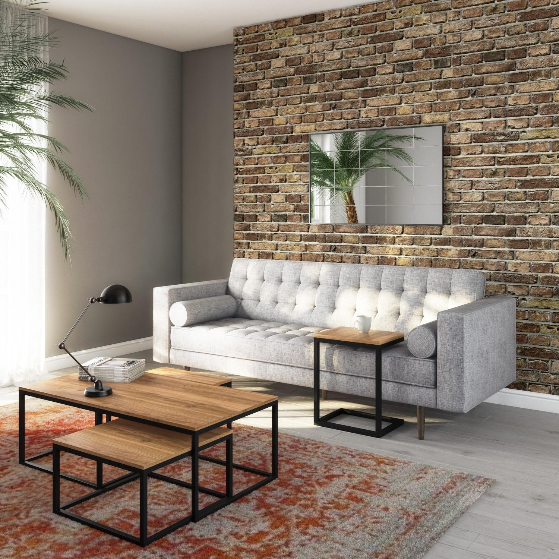 Picture of: Industrial Coffee Tables In Wood Black Metal 3 Suri Furniture123