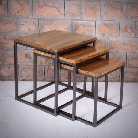 Suri Nest of Tables in Wood & Iron - Industrial