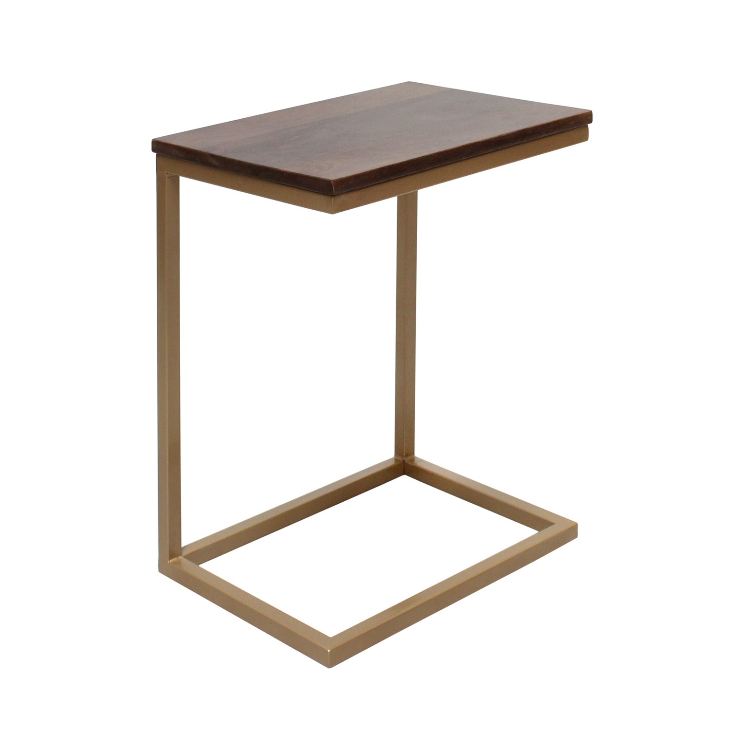 Suri Gold Side Table Metal with Dark Wood Top
