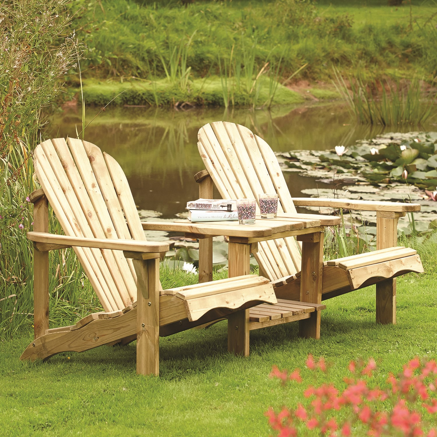 Rowlinson Softwood Garden Chairs with Adjoining Table