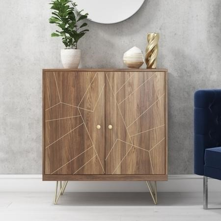 Gold Small Sideboard in Solid Wood with Brass Features - Tahlia