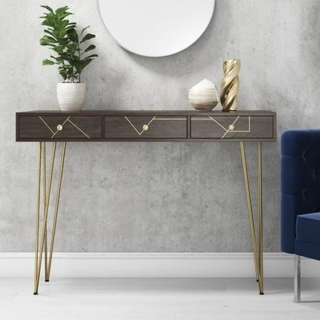 Console Table in Dark Wood & Gold - Tahlia