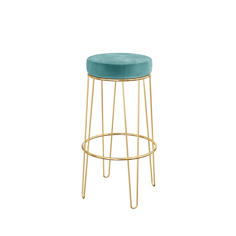 Pair Of Teal Blue Velvet Bar Stools With Gold Metal Legs Tara Furniture123