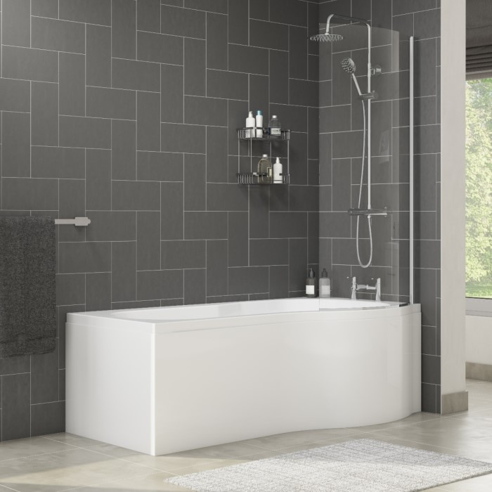 Palham Right Hand P Shape Bath with Side Panel & Shower Screen ...