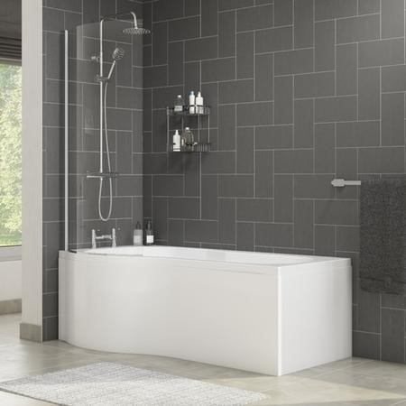Palham Left Hand P Shape Bath with Side Panel & Shower Screen - 1700 x 700mm