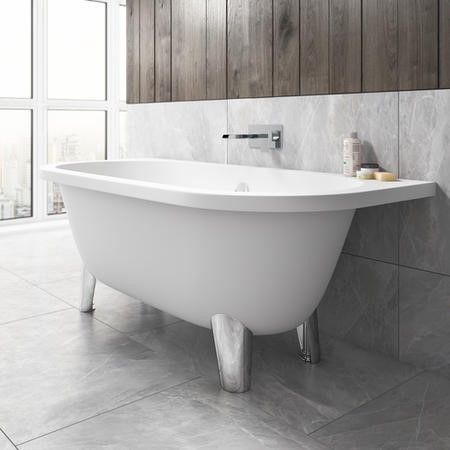 Back To Wall Freestanding Bath with Modern Feet - 1680 x 785 x 620mm