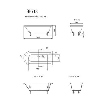 Hampson Traditional Single End Freestanding Bath with Ball & Claw Feet - 1660 x 740 x 595mm