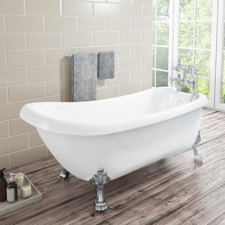 Kingham Traditional Slipper Style Freestanding Bath with Lion Feet - 1550 x 730 x 770mm