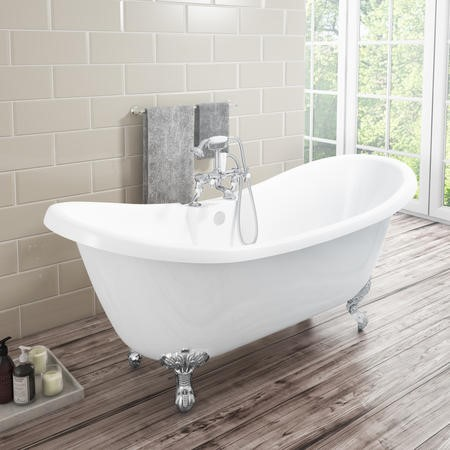 Taylor & Moore Lostock Traditional Double Ended Slipper Style Freestanding Bath with Ball & Claw Feet - 1750 x 730 x 770mm