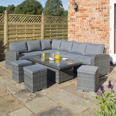Rowlinson Large Grey Rattan Garden Corner Sofa Set – Thornbury Range