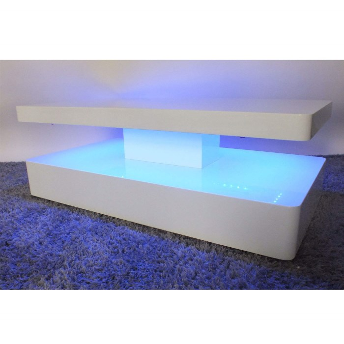 Tiffany White High Gloss Cubic Led Coffee Table Furniture: Tiffany White High Gloss Rectangular Coffee Table With LED