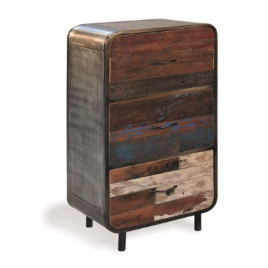 Recycled Boat Retro High 3 Drawer Sideboard