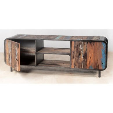 Retro Reclaimed Wood TV Cabinet