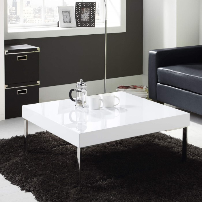 High Gloss Square White Coffee Table Tiffany Range Furniture123
