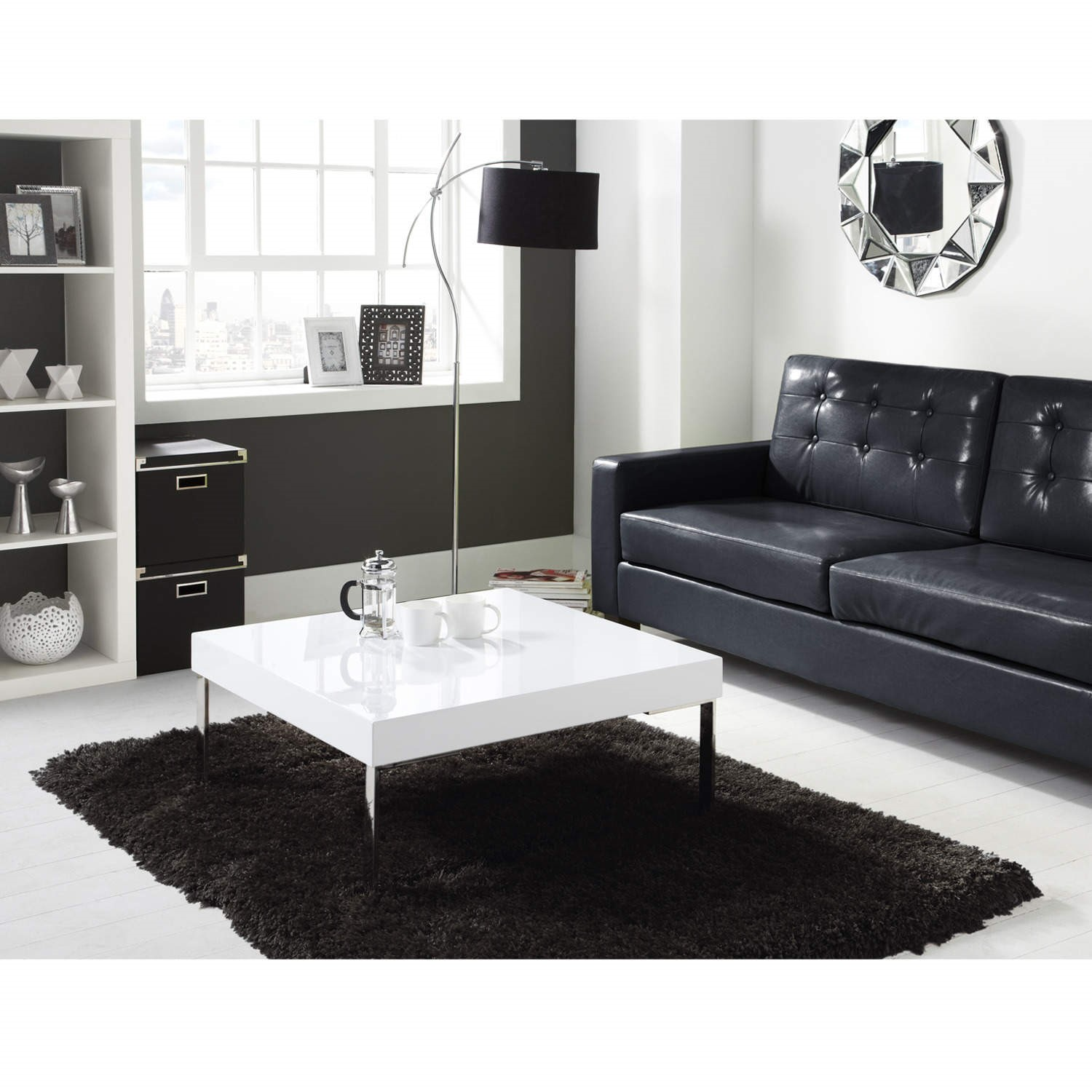 Picture of: High Gloss Square White Coffee Table Tiffany Range Furniture123